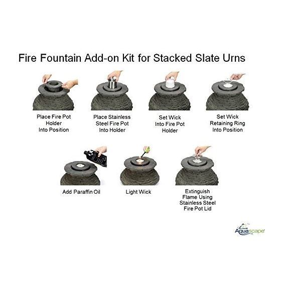 Fire Fountain Stacked Slate Urn Add-On Kit 4