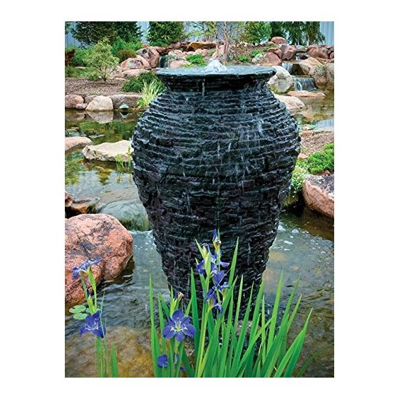 Medium Stacked Slate Urn Fountain 2
