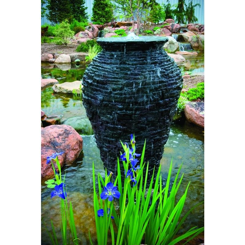 Large Stacked Slate Urn Fountain for Landscape and