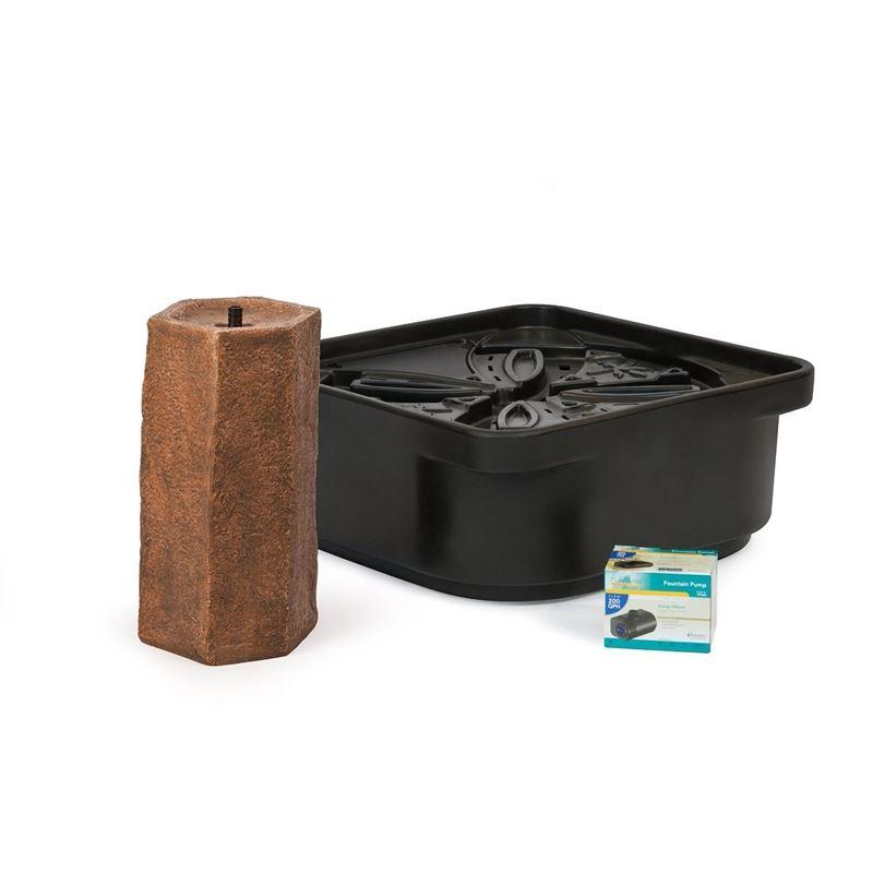 Basalt Column Fountain Kit with Pump and Basin, 16